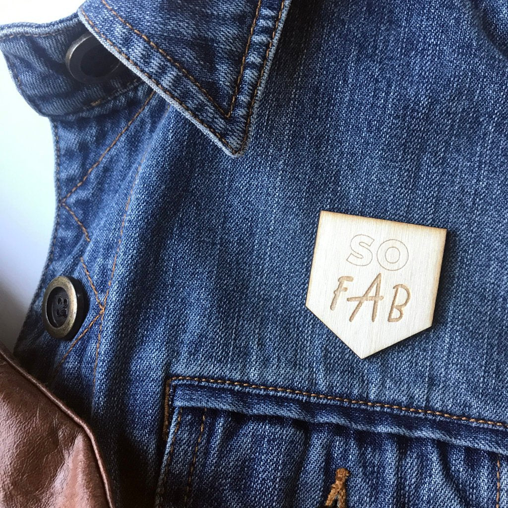 So Fab Wooden Brooch Pin