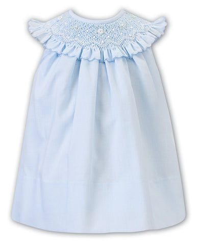 Agnes Dress - Blue with Smocked Neck