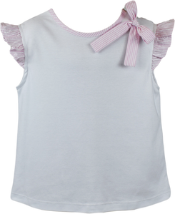 Keep Blooming Angel Blouse - White Knit with Pink Seersucker