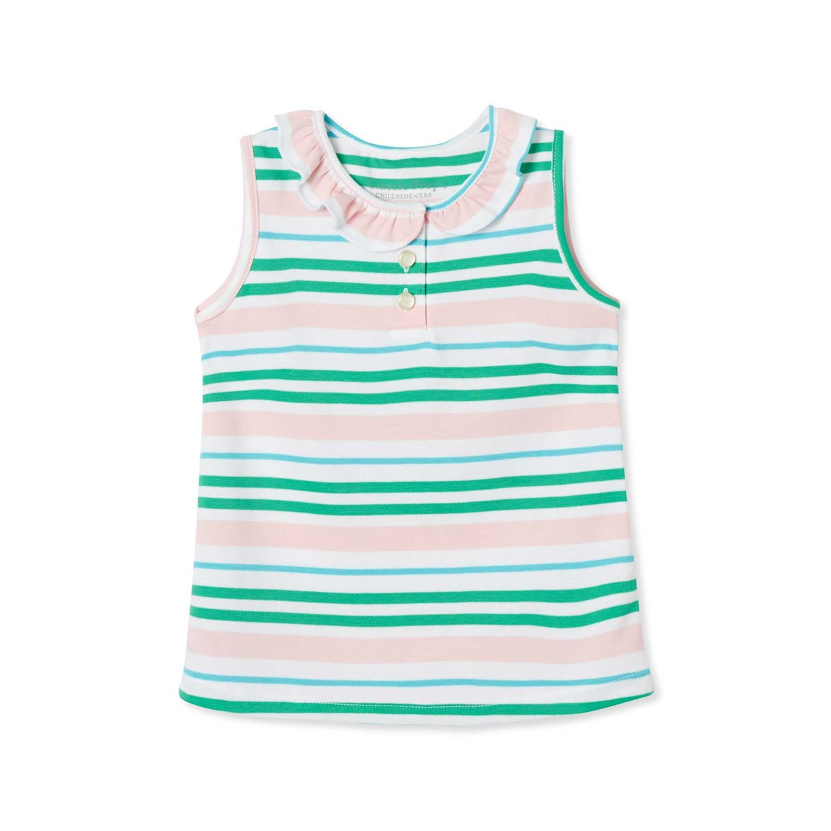 Zoe Sleeveless Polo - Lilly's Pink Multistripe Pima