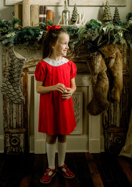 Eloise Dress - Red Corduroy with Eyelet Trim & Embroidery