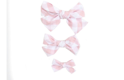Hand Tied Hairbow  - Pink Buffalo Check