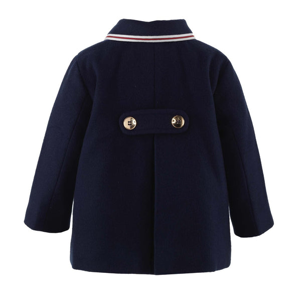 Double Breasted Trim Coat - Navy