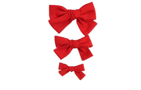 Hand Tied Hairbow  - Solid Red Pique