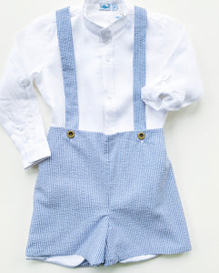 Navy Stripes Seersucker & Linen Top Set - (2)