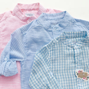 Boys Azul Stripe Button Down