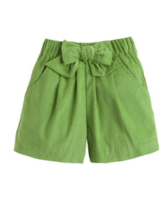 Bow Shorts - Sage Green Corduroy - 3T,4T,4,5,6