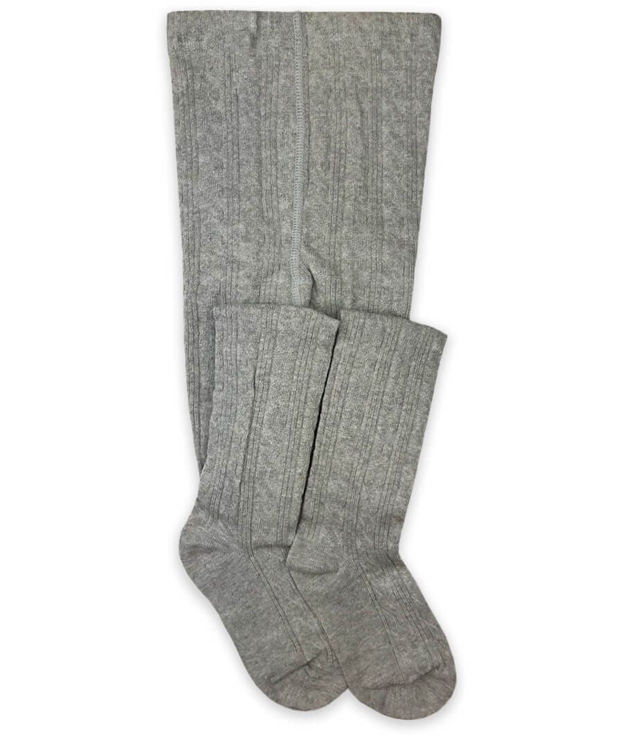 Classic Cable Knit Tights - Heather Grey