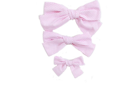 Hand Tied Hairbow  - Pink Stripe