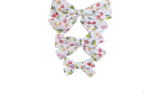 Hand Tied Hairbow  - Cherry Swiss Dot