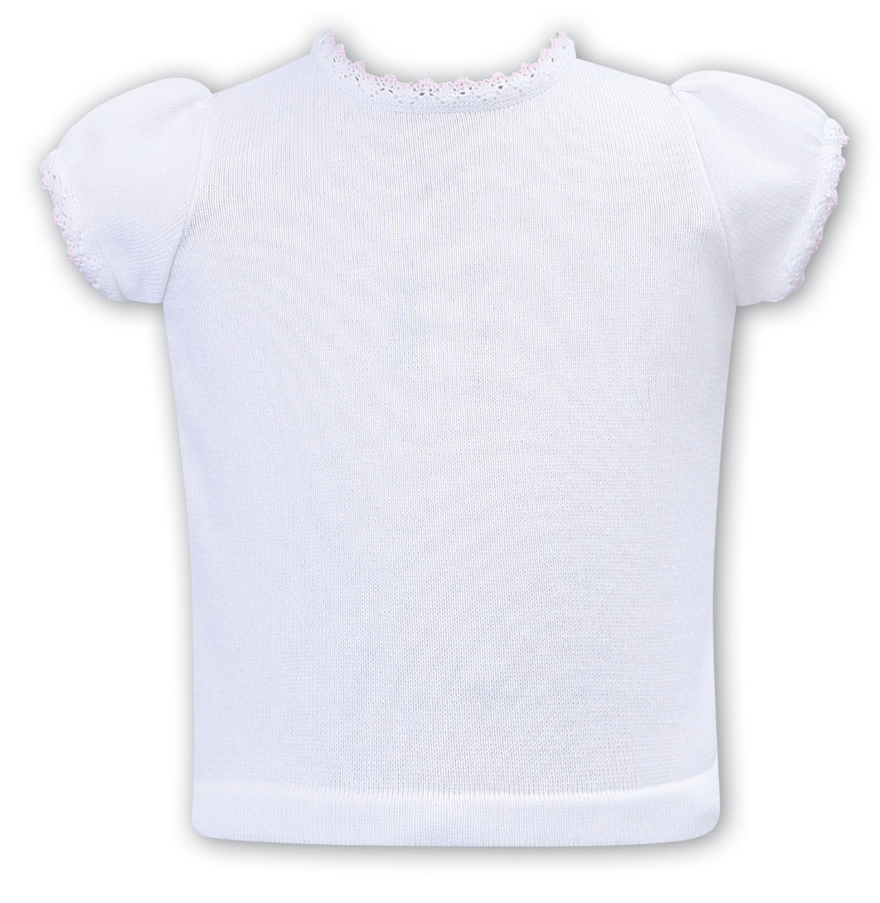 White Cotton Sweater Top - Pink Trim