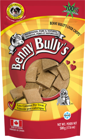 Benny Bullys Liver Chops - Bulk - 500 g (18 oz) - Freeze Dried Pure Beef Liver Dog Treats