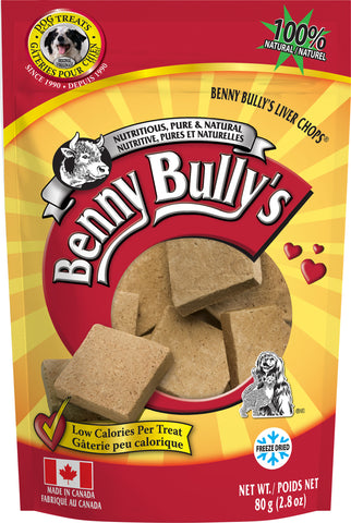 Benny Bullys Liver Chops - Medium - 80 g (2.8 oz) - Pure Beef Liver Dog Treats