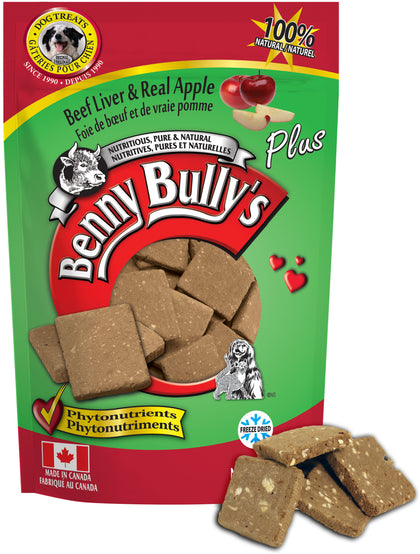 Benny Bullys Liver Plus Apple - Medium - 58 g (2.1 oz) - Freeze Dried Beef Liver and Apple Dog Treats