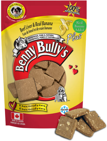 Benny Bullys Liver Plus Banana - Medium - 58 g (2.1 oz) - Freeze Dried Beef Liver and Banana Dog Treats