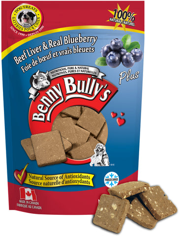 Benny Bullys Liver Plus Blueberry - Medium - 58 g (2.1 oz) - Freeze Dried Beef Liver and Blueberry Dog Treats