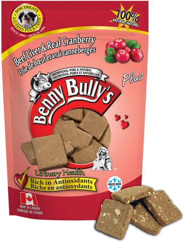 Benny Bullys Liver Plus Cranberry - Medium - 58 g (2.1 oz) - Freeze Dried Beef Liver and Cranberry Dog Treats