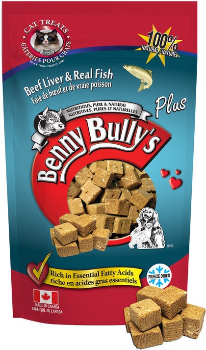 Benny Bullys Liver Plus Fish Cat Treats - Entry - 25 g (0.9 oz) - Freeze Dried Beef Liver and White Fish Cat Treats