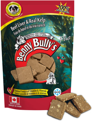 Benny Bullys Liver Plus Kelp - Medium - 58 g (2.1 oz) - Freeze Dried Beef Liver and Kelp Dog Treats