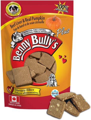 Benny Bullys Liver Plus Pumpkin - Medium - 58 g (2.1 oz) - Freeze Dried Beef Liver and Pumpkin Dog Treats