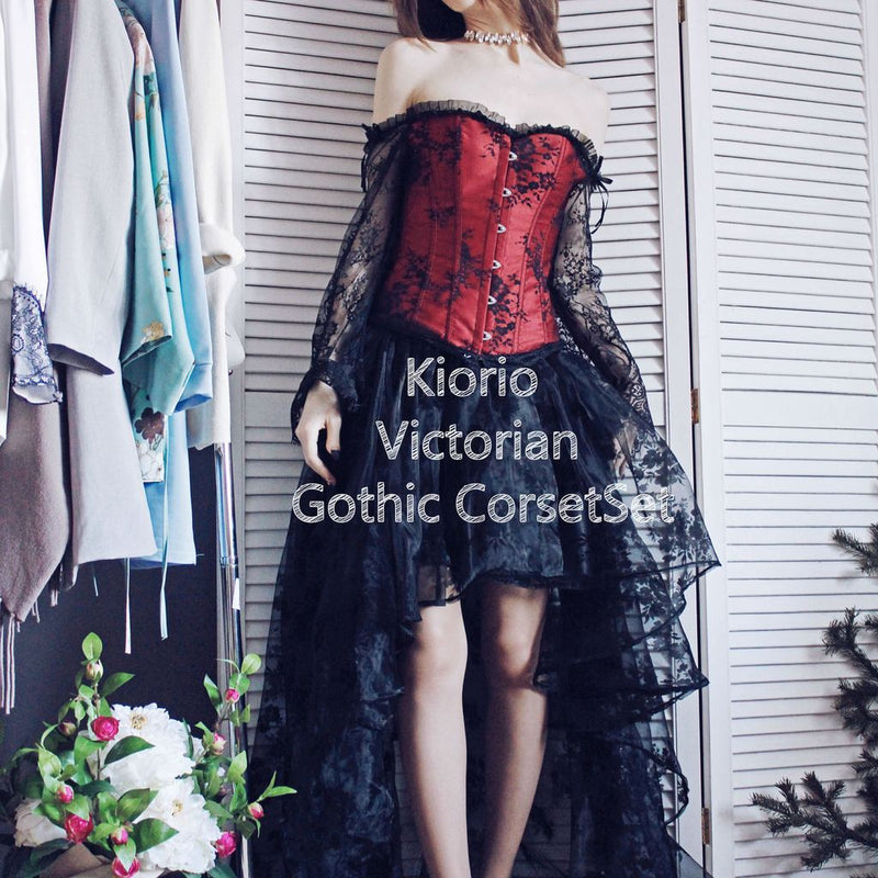 Victorian Gothic Fashion Overbust Long Sleeves Floral Lace Corset with Organza Skirt Set