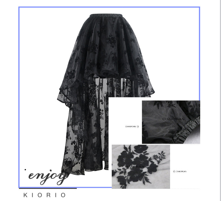 Gothic High Low Velvet Foral Skirt 2018-KIORIO