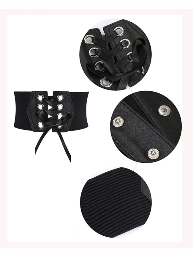 Fashion Leather Lace-up Elastic Wide Waist Corset Belt