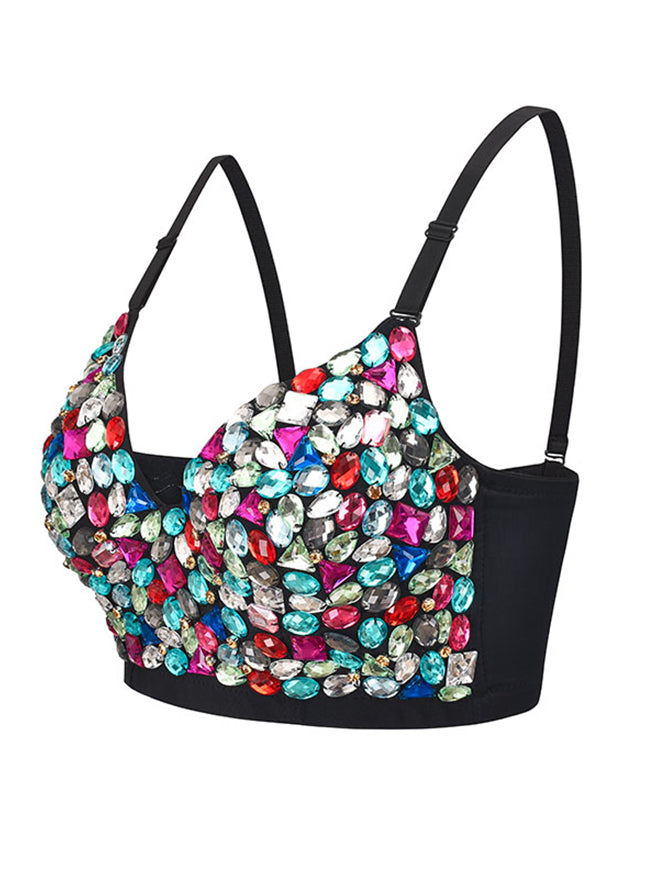 Sexy Sweets Studded Gem B Cup Spaghetti Straps Bustier Bra Clubwear Crop Top