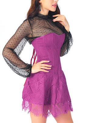 Elegant Rose-red Strapless Stripe Lace Corset Dress With Polka Dots Blouse Set