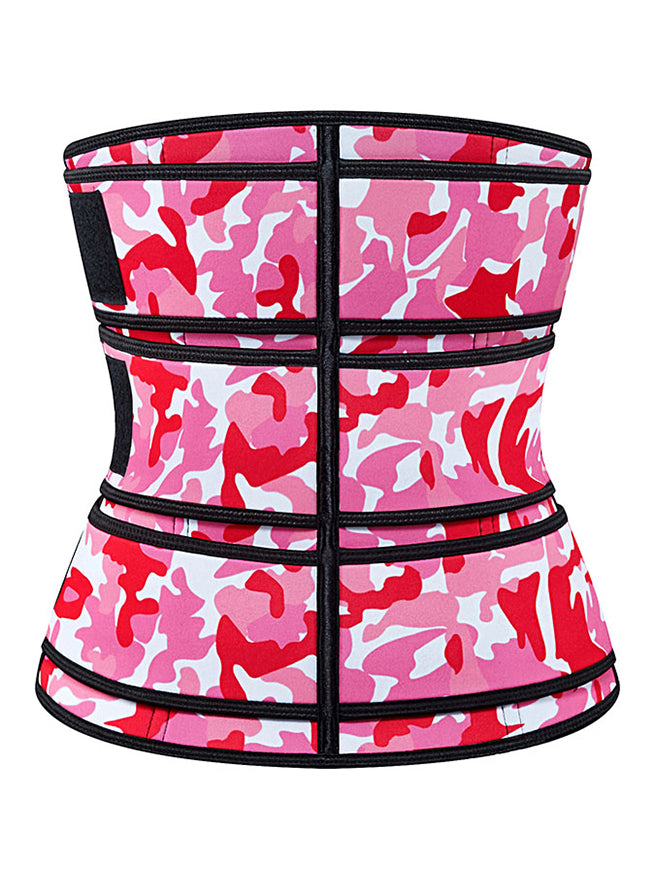 Rose-red Camouflage Neoprene Velcro Sports Waist Trimmer Bones Body Shaper Belt