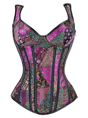 Steampunk Jacquard Steel Bone Plus Size Corset Vest for Halloween