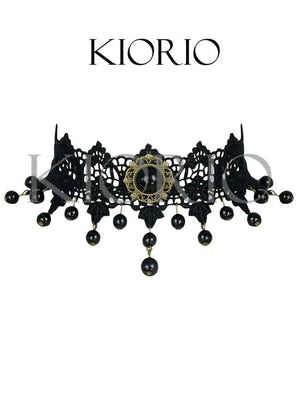 Handmade Gothic Vintage Vampire Bead Gem Lace Choker Necklace