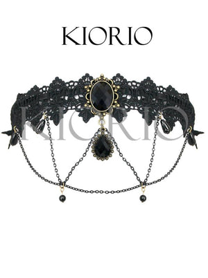 Handmade Black Vintage Lace Dark Gems Metal Chain Hair Clasp Hair Hoop With Chains