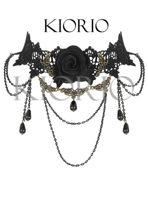 Handmade Gothic Vintage Party Tassel Black Rose Deluxe Necklace with Chains