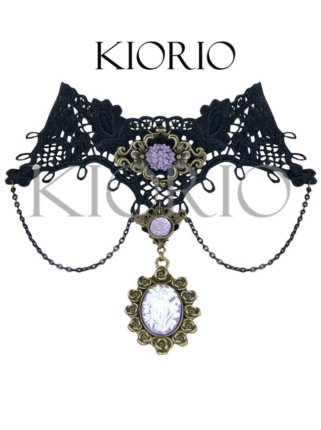 Handmade Gothic Lolita Purple Pendant Lace Cameo Choker Necklace Gorgeous Jewelry with Chains
