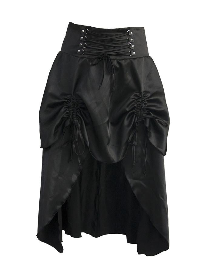 Women's Victorian Steampunk Gothic Vintage Solid Asymmetrical High Low Corset Skirt