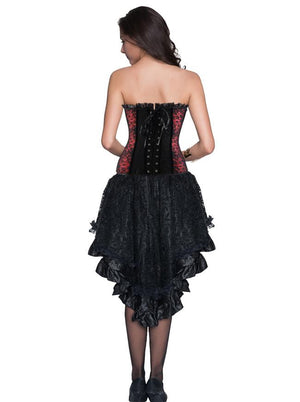 Gothic Burlesque Floral Lace Corset Top With Lace High Low Layered Skirt Set