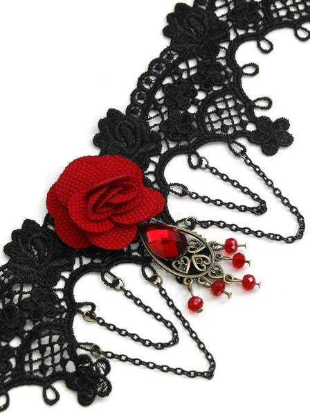 Handmade Gothic Victorian Black Lace Rose Choker Women Necklace with Chains