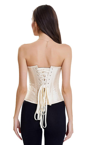 Apricot Gothic Vintage Floral Renaissance Steel Boned Embroidery Overbust Corset Top