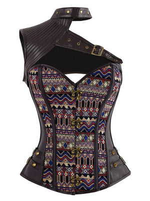 Women's Gothic Steampunk Steel Boned One-shoulder Leather Overbust Corset