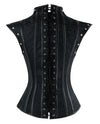 Women's Black Steampunk Steel Boned Jacquard Overbust Corset with Decorative Shrug