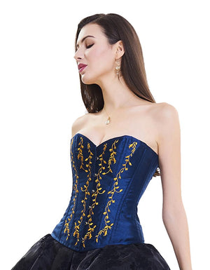 Blue Gothic Vintage Floral Renaissance Steel Boned Embroidery Overbust Corset Top