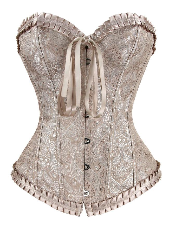 Women's Luxurious and Elegant Brocade Embroidered Apricot Overbust Corset