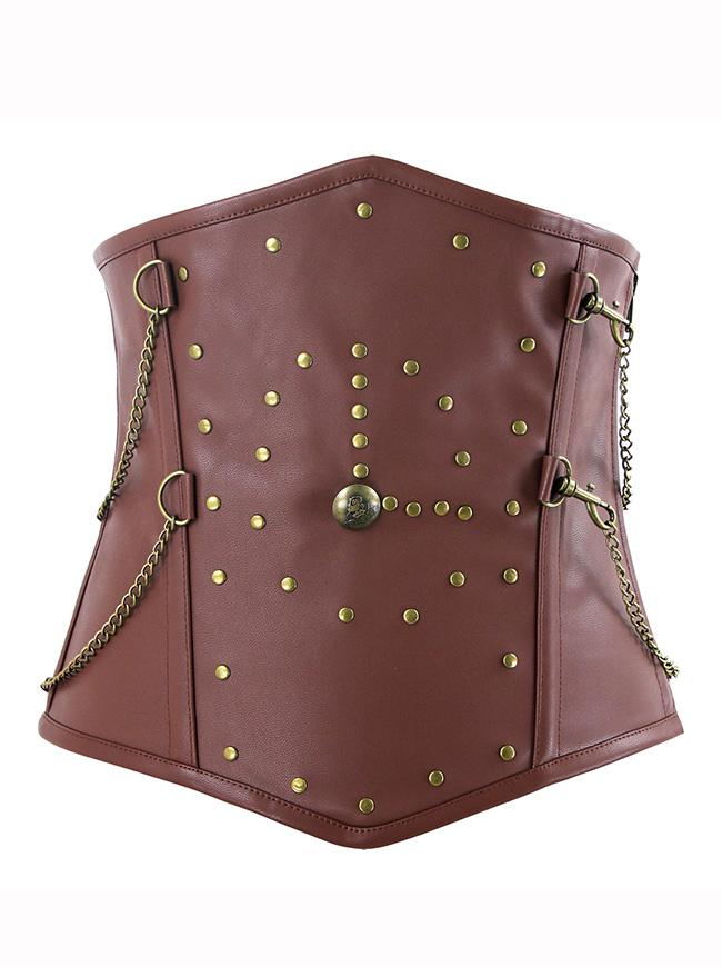 Steampunk Spiral Steel Boned Faux Leather Underbust Corset