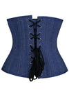Heavy Duty 24 Steel Bones Under-bust Denim Corset with Zipper Closure