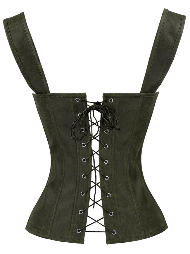 Women's Olive Vintage Lace Up Matte Faux Leather Bustier Corset with Garters