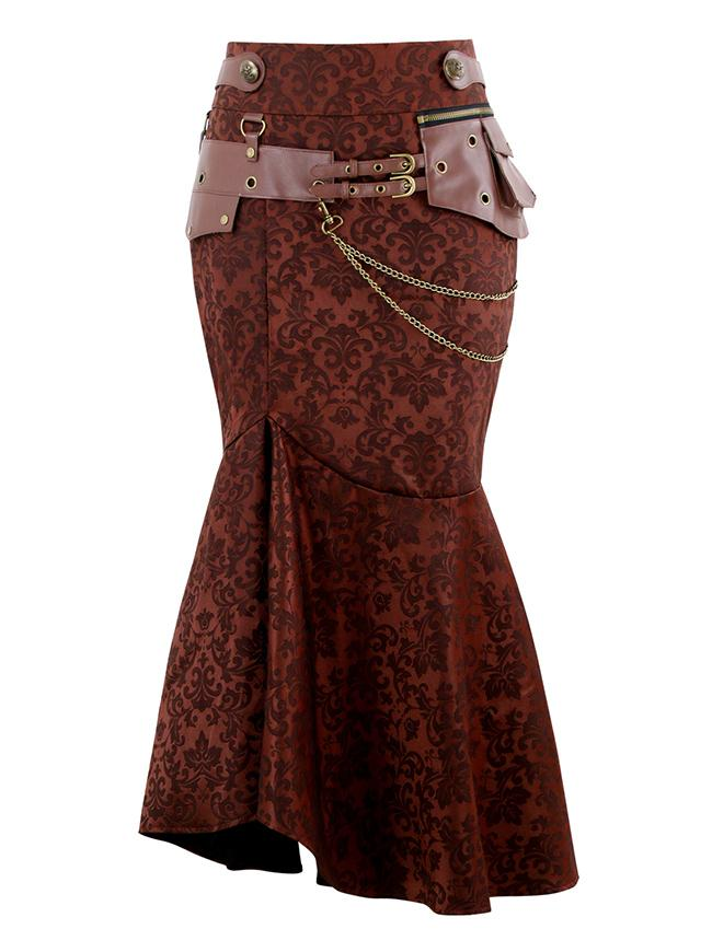 Women's Brown Steampunk Gothic Jacquard High Waisted Fishtail Pencil Skirt with Pouch