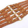 Women's Fashion Faux Leather Steampunk Rivet Elastic Waist Brown Belt