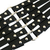 Women's Fashion Faux Leather Steampunk Rivet Elastic Waist Belt Black One-Size