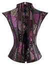 Women's Purple Steampunk Steel Boned Jacquard Overbust Corset with Decorative Shrug